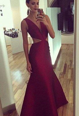 Sheath-Column Floor-length Elegant Sexy Deep-v-neck Sleeveless Prom Dress_2