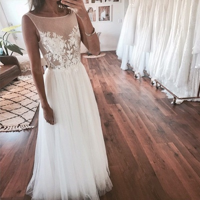 Chic A-Line Sleeveless Wedding Dresses | Scoop Appliques Tulle Bridal Gowns_4
