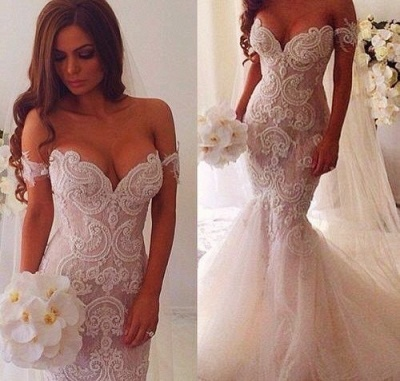 Off-the-Shoulder Pearls Short Sleeves Sexy Mermaid Wedding Dresses_4
