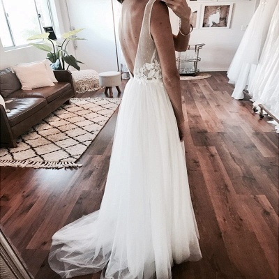 Chic A-Line Sleeveless Wedding Dresses | Scoop Appliques Tulle Bridal Gowns_3