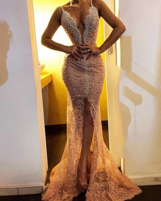 Sexy Mermaid Lace Prom Dresses 2019 | Straps Front Split Beaded Cheap Evening Dresses_1