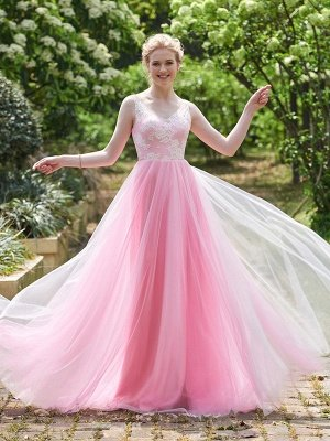 Straps Pink A-line Lace Floor-length Amazing Sleeveless Bridesmaid Dress_2