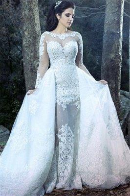 Form Fitting Overskirt Long Sleeves Glitter Lace Wedding Dresses_2