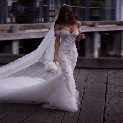 Off-the-Shoulder Pearls Short Sleeves Sexy Mermaid Wedding Dresses_6