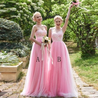 Straps Pink A-line Lace Floor-length Amazing Sleeveless Bridesmaid Dress_4