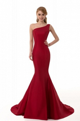 Mermaid One Shoulder Satin Long Affordable Evening Dress_2