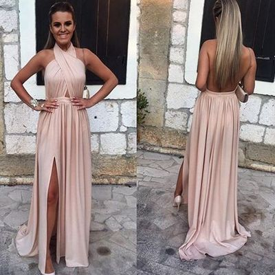 2019 Pink Halter Prom Dresses Backless Side Slit Sexy Formal Gowns_3