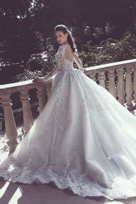 Glamorous Lace Mermaid Wedding Dresses | Long Sleeves Overskirts Bridal Gowns_3