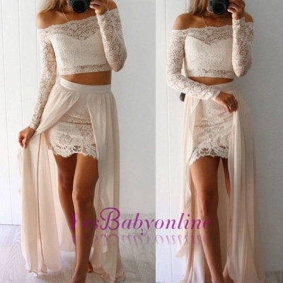 Lace Long-Sleeves Two-Pieces Sexy Off-the-Shoulder Prom Dresses_1