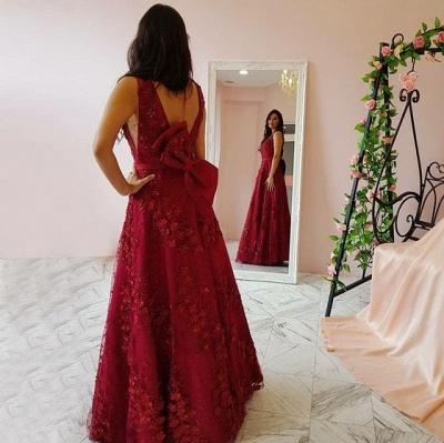 Burgundy lace long prom popular dresses prom dresses_3