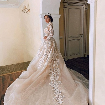 High Neck Sheer Lace Gorgeous Wedding Dresses with Long Sleeves_3