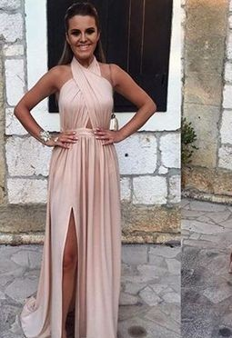 2019 Pink Halter Prom Dresses Backless Side Slit Sexy Formal Gowns_2