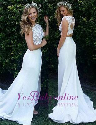 Zipper Modest Two-Piece Sweep-Train White Lace Mermaid Wedding Dress_1