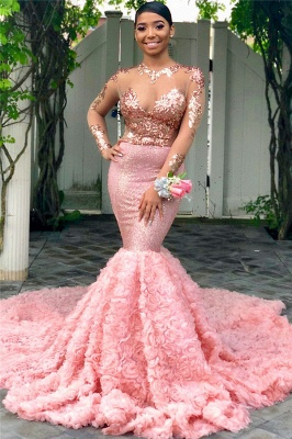 Sexy High Neck Long Sleeve Applique Beading Mermaid Prom Dresses   Fitted And Flare Evening Dresses_1