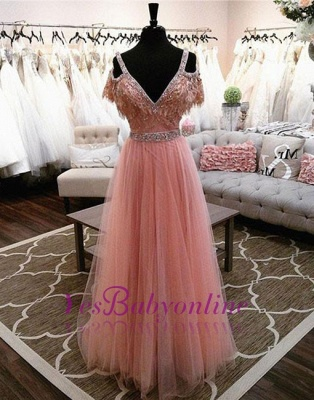 Pink V-neck A-line Lace Beading Floor-length Charming Evening Dress_1