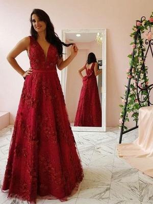 Burgundy lace long prom popular dresses prom dresses_2