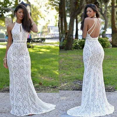 Newest Lace Mermaid Prom Dress Backless White Formal Gowns_3