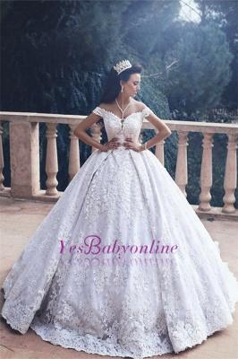 Luxurious Appliques Lace Princess Princess Off-The-Shoulder Wedding Dress_1