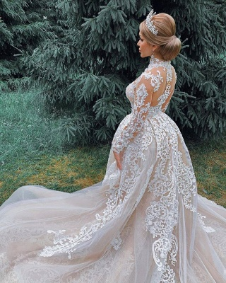 High Neck Sheer Lace Gorgeous Wedding Dresses with Long Sleeves_5