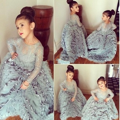 Lovely  Lace Long Sleeves Tiers Long Stunning Flower Girls Dresses_3