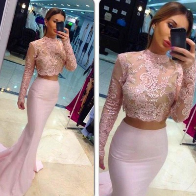 White Mermaid Bridesmaid Dresses Two-Piece Long Sleeves Lace Formal Dresses_4