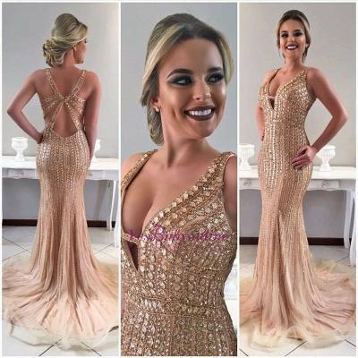 Crystal Straps Gorgeous Sweep-Train Mermaid Sleeveless Prom Dress_1