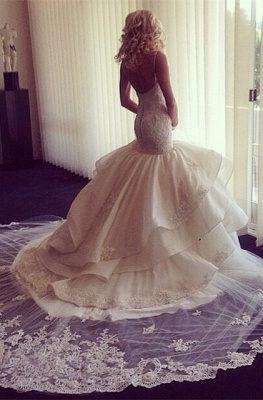 Sweetheart-Neck Ruffles Skirt Romantic Mermaid Wedding Dresses_1