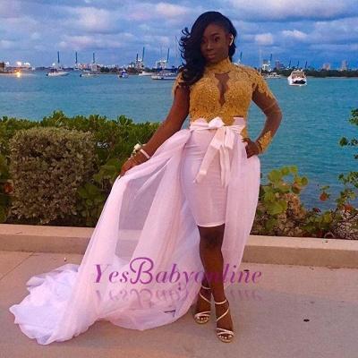Long-Sleeves High-Neck Lace Detachable-Skirt Glamorous Gold Evening Dresses_1