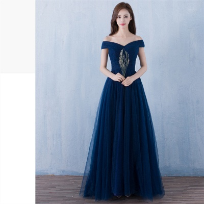 Elegant A-Line Ruched Bridesmaid Dresse | Off-The-Shoulder Tulle Wedding Party Dresses_7