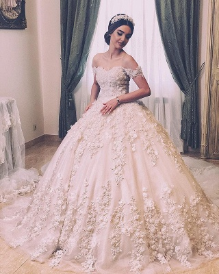 Off The Shoulder Sweetheart Backless Lace Flowers Pearls Ball Gown Wedding Dresses_2