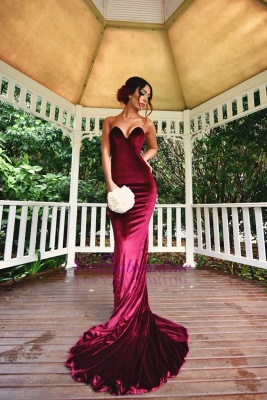 Sexy Burgundy Mermaid Prom dresses Velvet Simple Formal Dresses_1