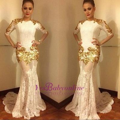 Luxurious Half-sleeve Lace Prom Dresses   Long Mermaid Evening Dresses_1