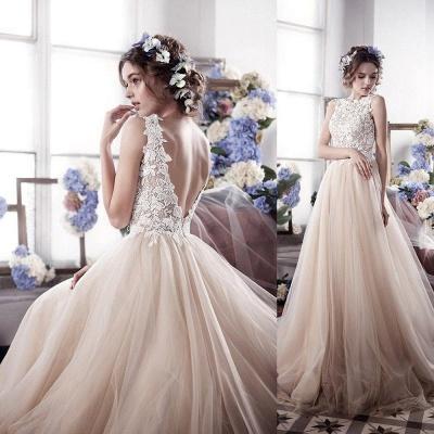Appliques Romantic Tulle Sleeveless Classic Wedding Dress_4