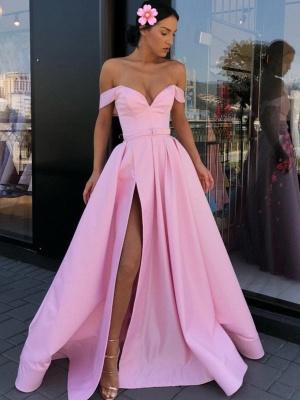 Sexy Pink Off-The-Shoulder Evening Dresses 2019   A-Line Front Split Long Formal Dresses Online_1