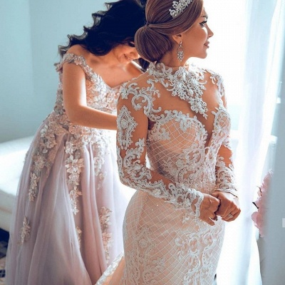 High Neck Sheer Lace Gorgeous Wedding Dresses with Long Sleeves_2