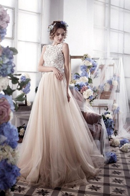 Appliques Romantic Tulle Sleeveless Classic Wedding Dress_2