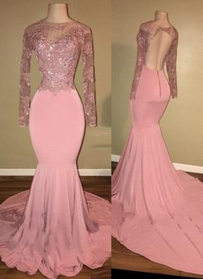 Mermaid Shiny Backless Beaded Long-Sleeves Pink Prom Dresses_2