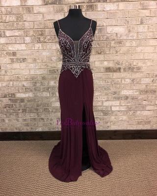 Spaghetti-Straps A-Line Front-Slit Brilliant Beading Prom dresses_1