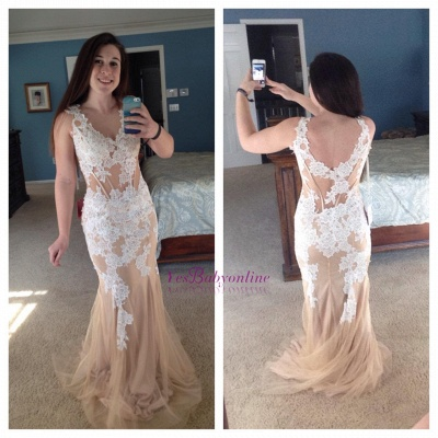 Appliques Popular V-neck Lace Champagne Corset Long Mermaid Evening Dress_1