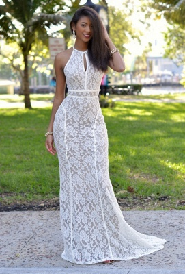 Newest Lace Mermaid Prom Dress Backless White Formal Gowns_2