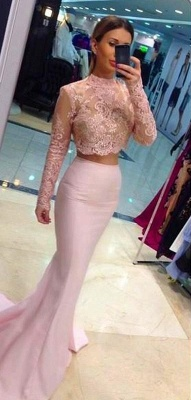 White Mermaid Bridesmaid Dresses Two-Piece Long Sleeves Lace Formal Dresses_5