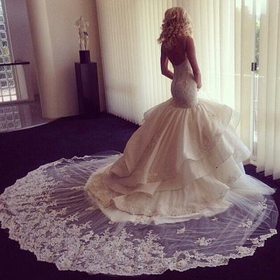 Sweetheart-Neck Ruffles Skirt Romantic Mermaid Wedding Dresses_4