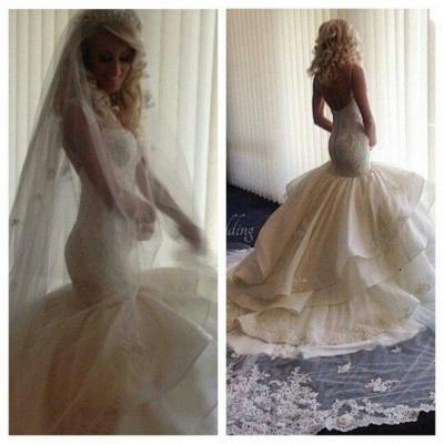 Sweetheart-Neck Ruffles Skirt Romantic Mermaid Wedding Dresses_3
