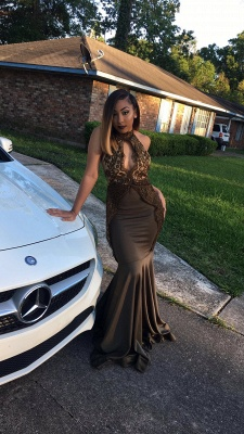 High Neck Mermaid Prom Dresses | Appliques Sleeveless Evening Gowns_3