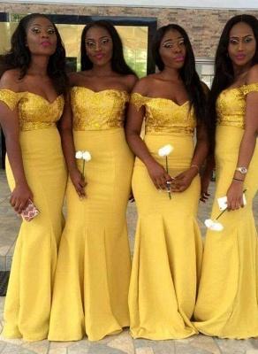 Elegant Off-the-Shoulder Wedding Party Dresses   Mermaid Yellow Bridesmaid Dresses_1