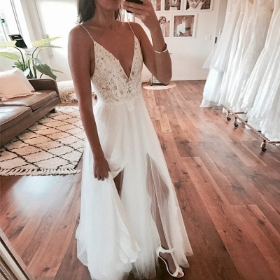 Sexy A-Line V-Neck Wedding Dresses | Tulle Spaghetti-Strap Slit Bridal Gowns_4