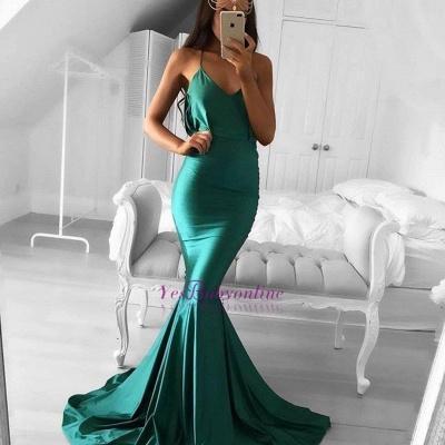 Sweep-Train Spaghetti-strap Sleeveless Green Modest Mermaid Prom Dress_1
