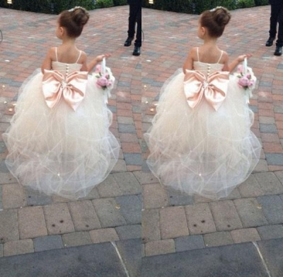 Lovely Spaghetti Strap Tulle Princess Flower Girl Dress with Bowknot_3