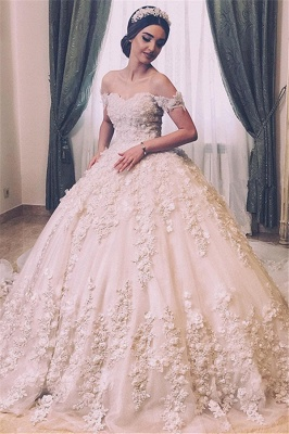 Off The Shoulder Sweetheart Backless Lace Flowers Pearls Ball Gown Wedding Dresses