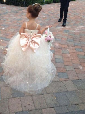 Lovely Spaghetti Strap Tulle Princess Flower Girl Dress with Bowknot_2